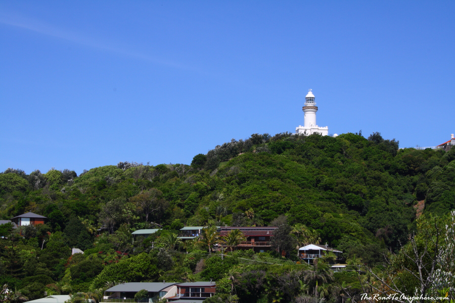 View of the lighthouse from Watego's Beach in Byron Bay, Australia