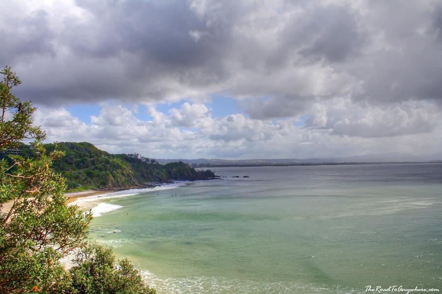 View of Watego's Beach and coastline in Byron Bay, Australia