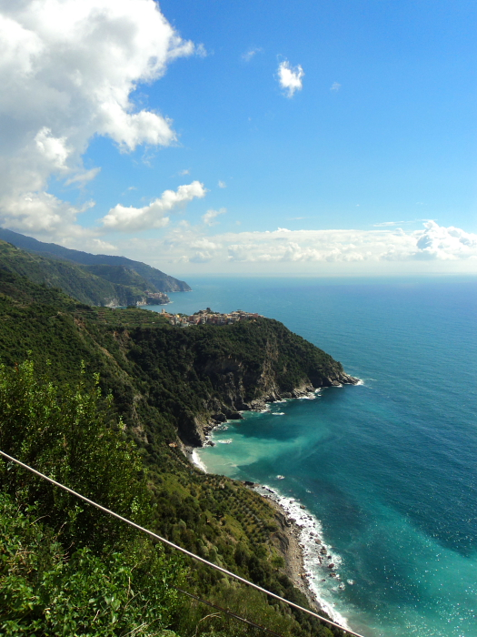 View towards Corniglia in Cinque Terre, Italy