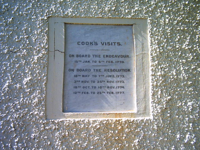 Plaque on the Captain Cook monument on the Queen Charlotte Track, New Zealand