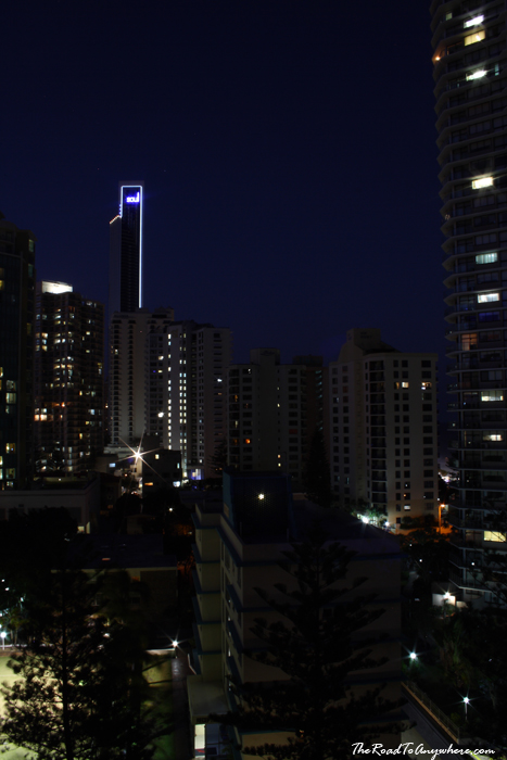 View of buildings at Surfer's Paradise at Night in Gold Coast, Australia