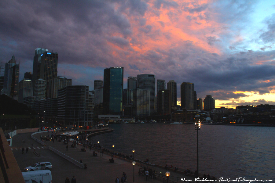 Pink skies over Sydney City at sunset in Sydney, Australia