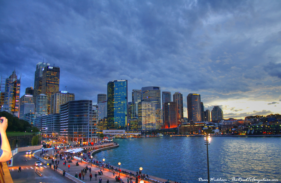 Sydney city skyline at sunset in Sydney, Australia