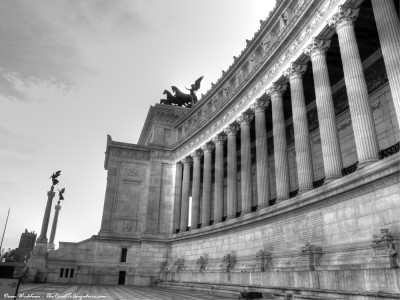 Roman architecture on the Vittorio Emanuele II Monument in Rome, Italy