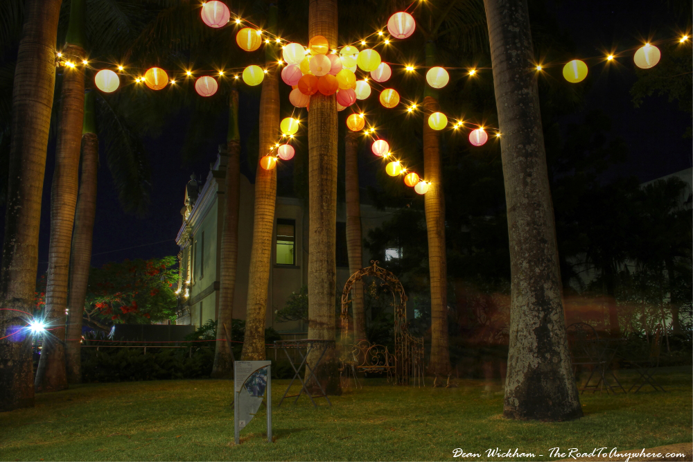 Picnic area with pretty lights in South Bank, Brisbane, Australia