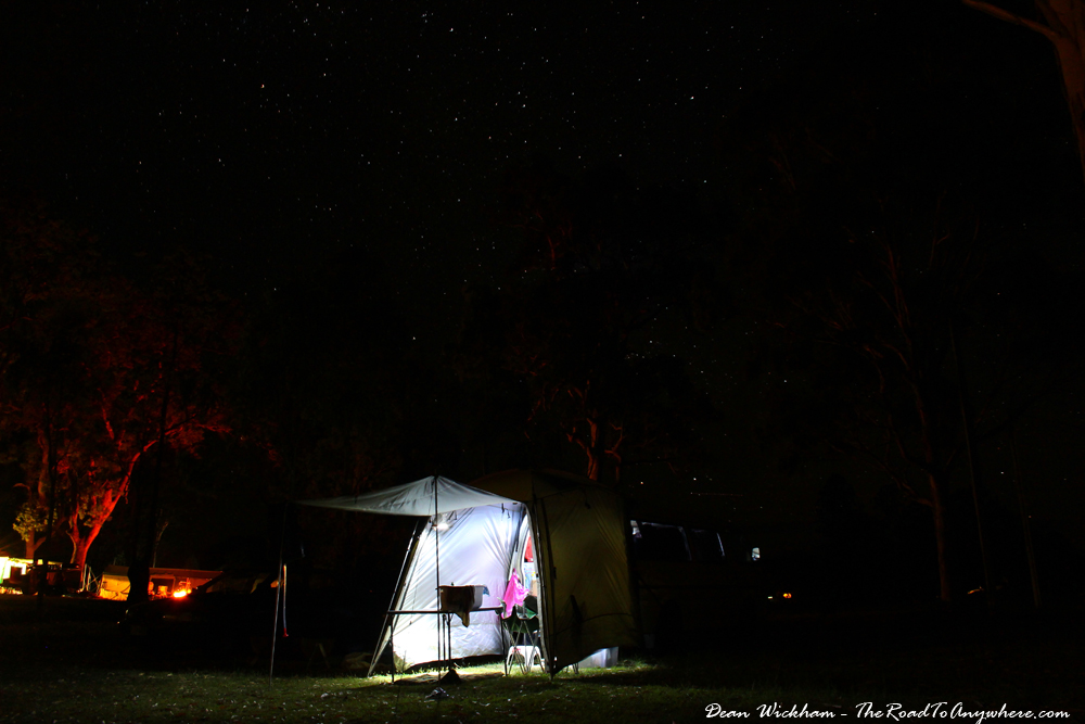 Camping under the stars in Darlington Park, Australia