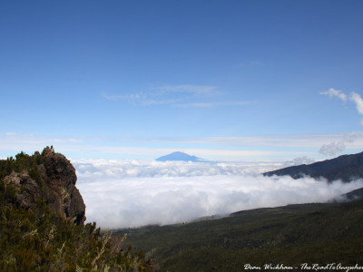 Mount Meru above the clouds on Mount Kilimanjaro, Tanzania