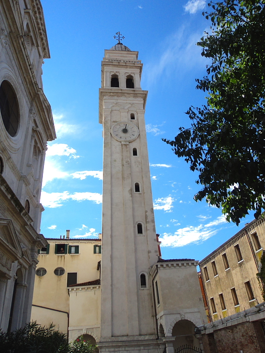 A leaning campanile (bell tower) in Venice, Italy