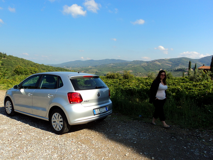 Car in the Tuscan countryside