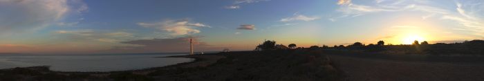 Panoramic view of Point Lowly Lighthouse at sunset in South Australia