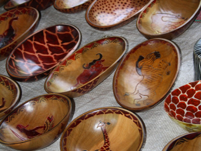 Wooden bowls for sale in Mto wa Mbu, Tanzania