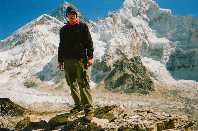 Standing in front of Mount Everest, Nepal