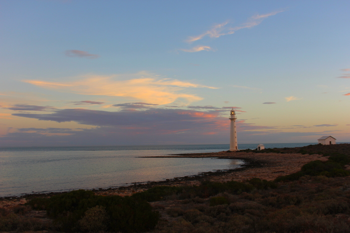 Point Lowly Lighthouse at sunset in South Australia