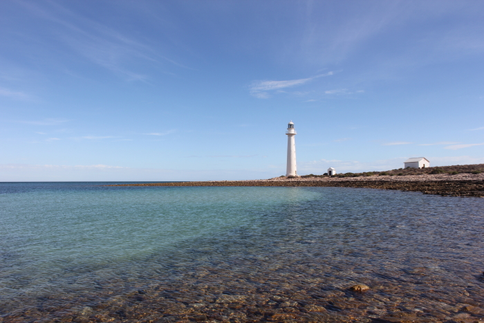 View of Point Lowly Lighthouse by the sea in South Australia