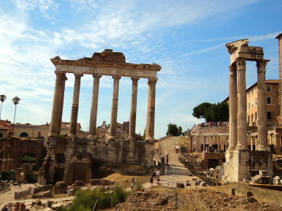 Temple of Saturn in the Roman Forum in Rome, Italy