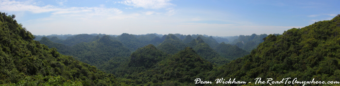 Panoramic view from the mountain summit in Cat Ba National Park, Vietnam