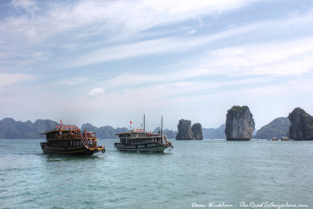 Boats cruising through Halong Bay, Vietnam