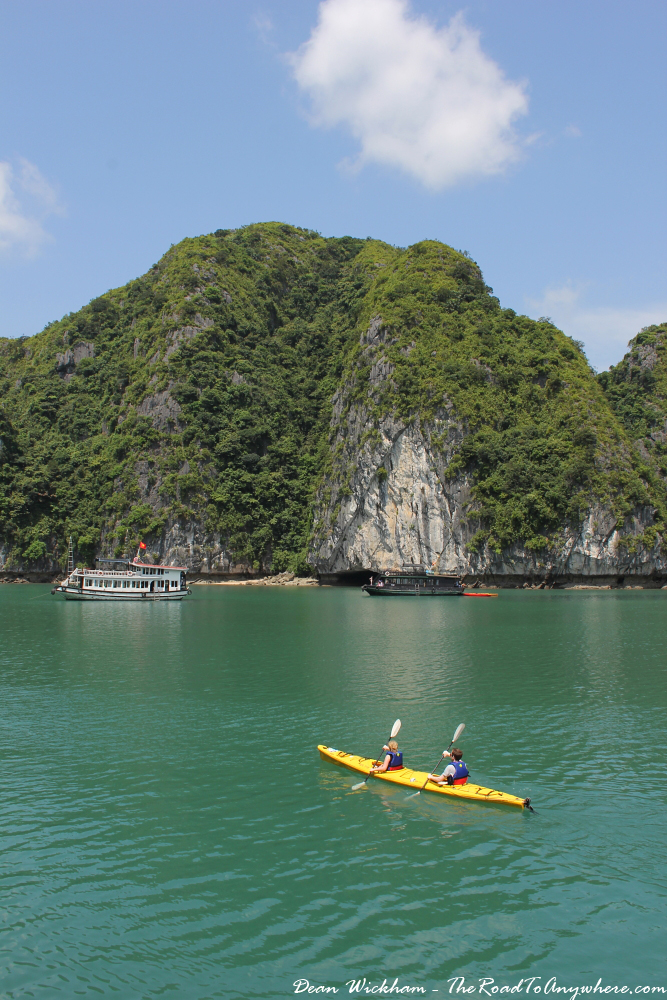 People kayaking in Halong Bay, Vietnam