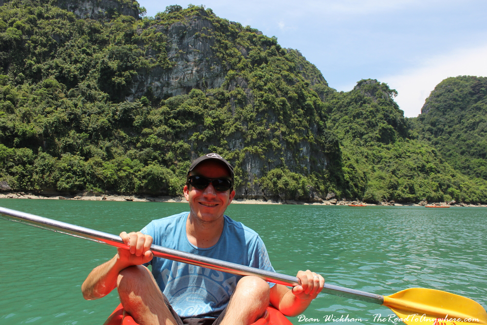 Kayaking in a lagoon in Halong Bay, Vietnam