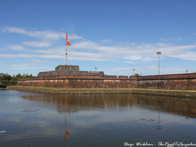 Moat and fortified wall at the Imperial Citadel in Hue, Vietnam