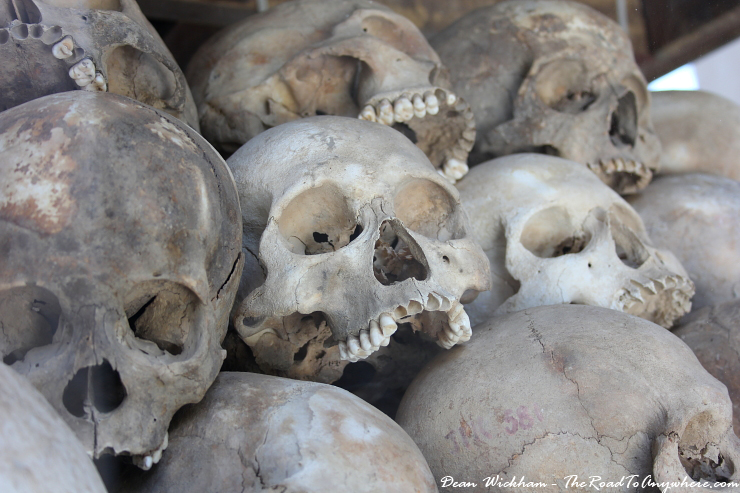 Skulls of victims at Choeung Ek Killing Fields in Phnom Penh, Cambodia