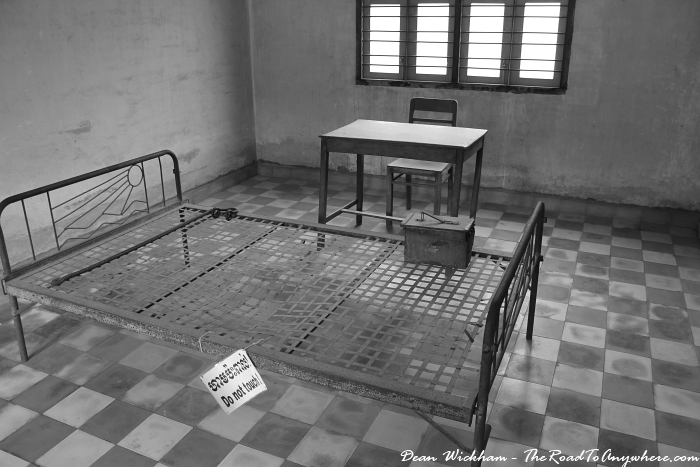 Bed and shackles at Tuol Sleng Prison in Phnom Penh, Cambodia
