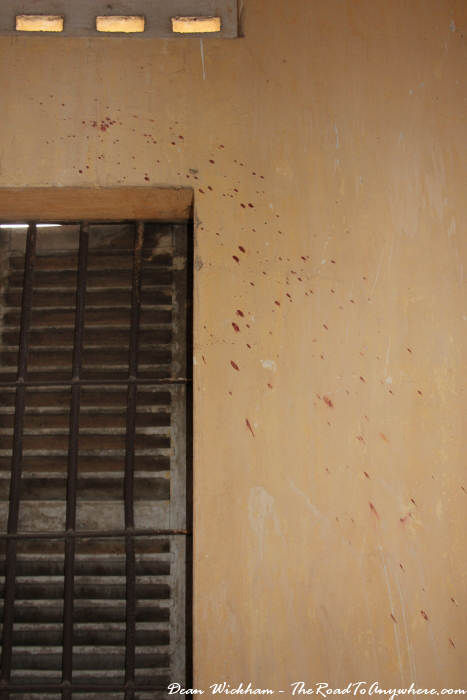 Blood splattered on a wall at Tuol Sleng Prison in Phnom Penh, Cambodia