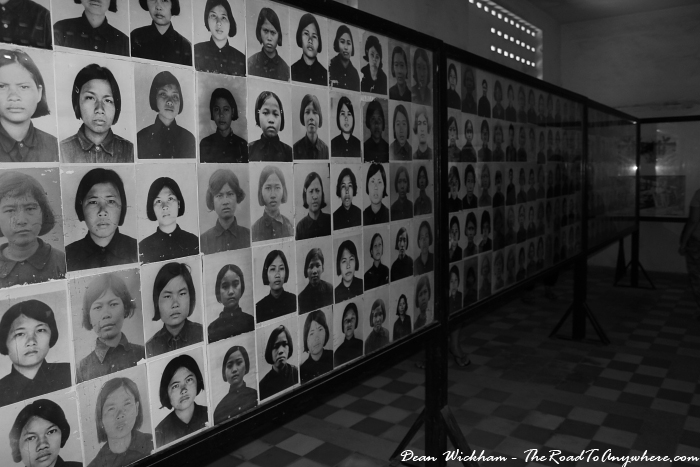 Photos of those killed at Tuol Sleng Prison in Phnom Penh, Cambodia
