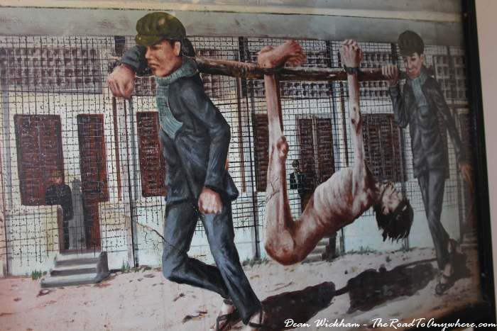 A painting at Tuol Sleng Prison in Phnom Penh, Cambodia