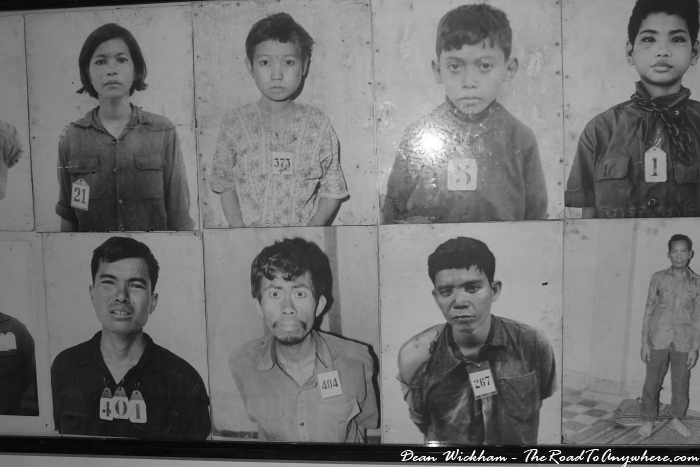 Photos of victims at Tuol Sleng Prison in Phnom Penh, Cambodia