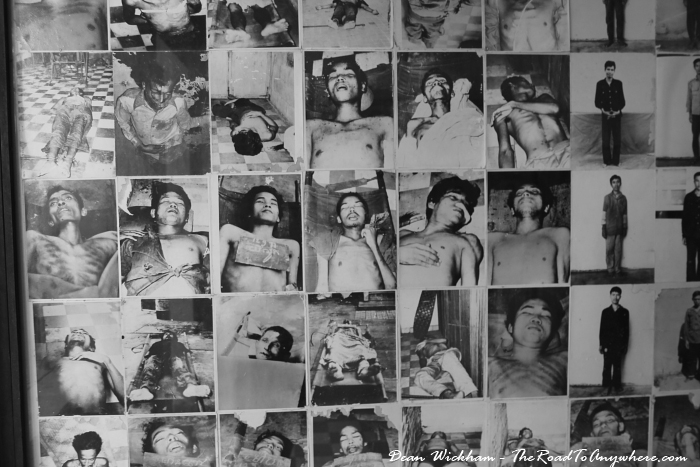 Photos of deceased at Tuol Sleng Prison in Phnom Penh, Cambodia