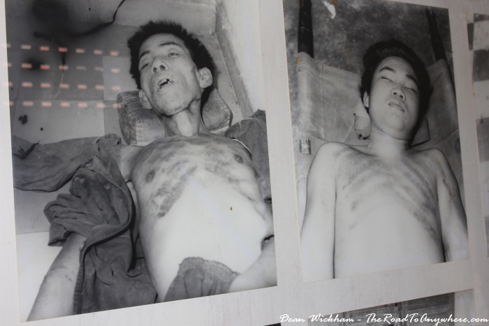 Photos of tortured bodies at Tuol Sleng Prison in Phnom Penh, Cambodia