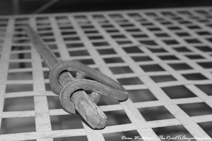 Shackles on a bed at Tuol Sleng Prison in Phnom Penh, Cambodia