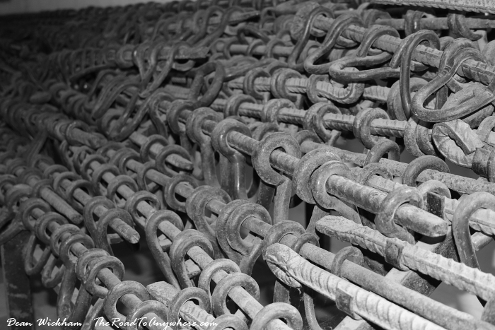 Piles of shackles at Tuol Sleng Prison in Phnom Penh, Cambodia