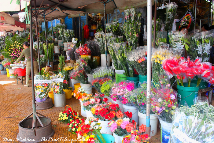 Flowers at the Central Market in Dalat, Vietnam