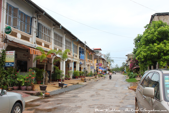 Typical street in Kampot, Cambodia
