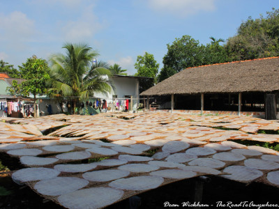 Rice noodle sheets drying in the sun at a rice noodle factory in the Mekong Delta, Vietnam