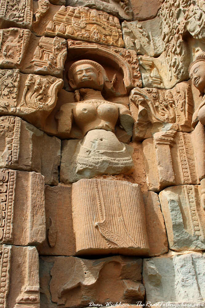 Ancient carving at Bakong in Angkor, Cambodia