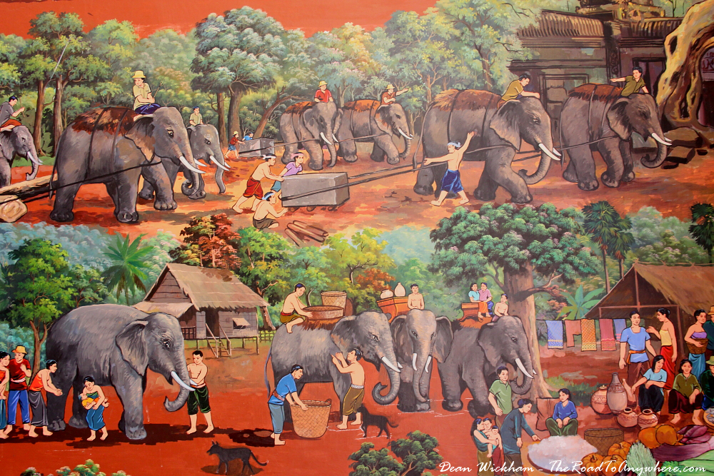 Beautiful painting of elephants in the Royal Palace in Phnom Penh, Cambodia