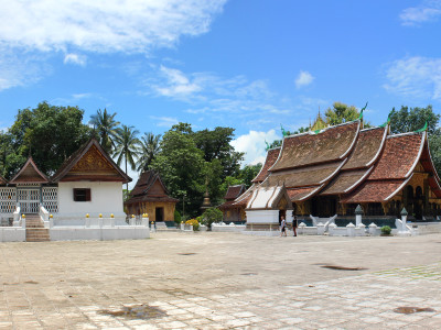 Panorama of Wat Xieng Thong in Luang Prabang, Laos