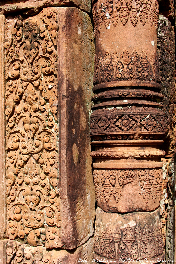 Ancient column in Banteay Srei in Angkor, Cambodia
