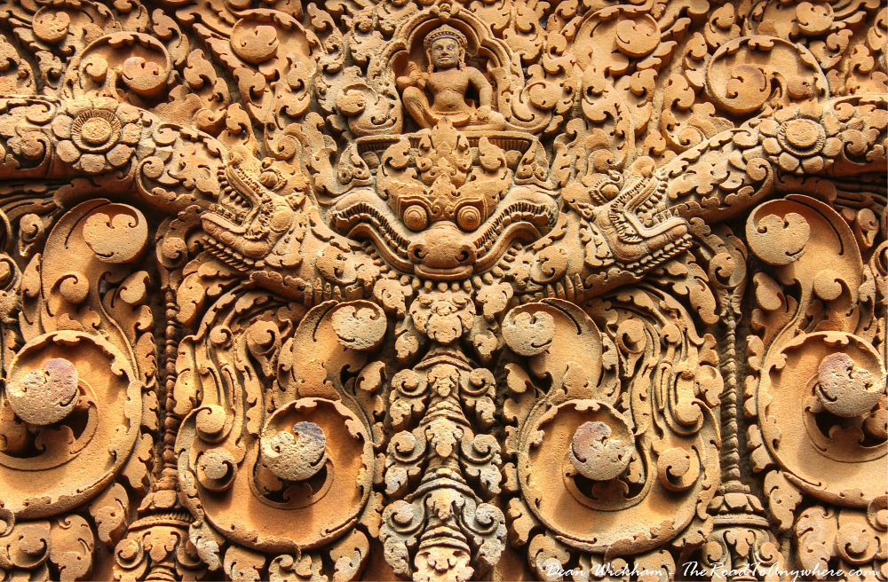 Intricate sandstone carving at Banteay Srei in Angkor, Cambodia