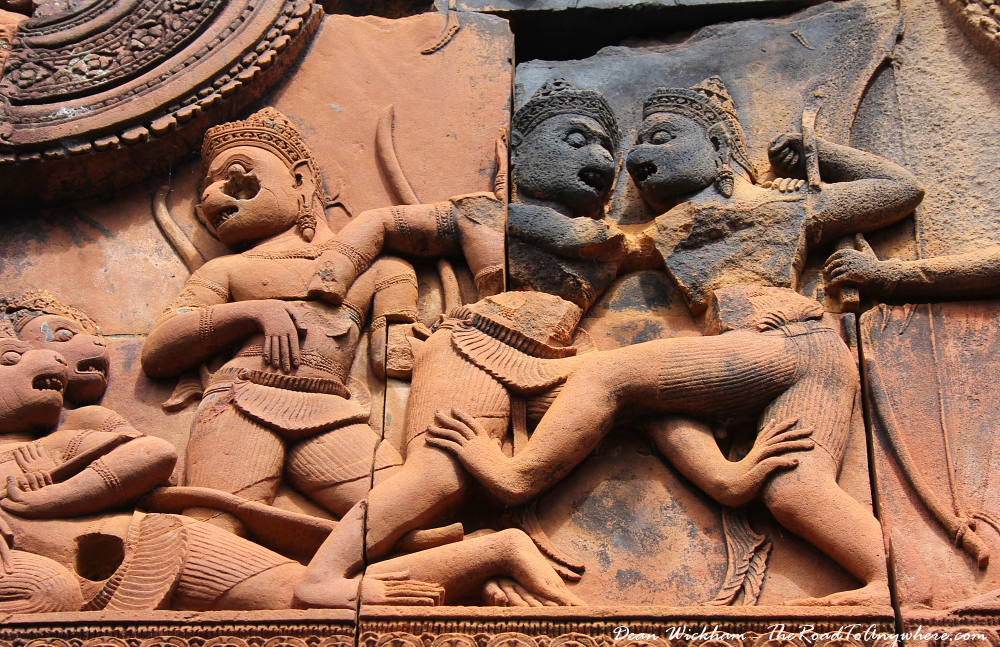 Sandstone carving at Banteay Srei in Angkor, Cambodia