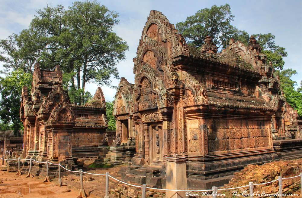 Buildings in Banteay Srei in Angkor, Cambodia