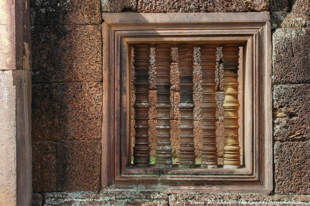 A window in Banteay Srei in Angkor, Cambodia