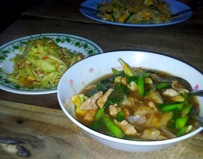 Gravy Noodles and Mango Salad in Chiang Mai, Thailand