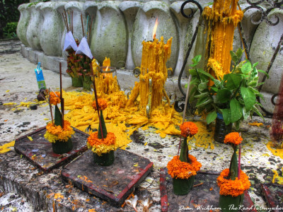 Buddhist Offerings and Candles at Phousi in Luang Prabang, Laos