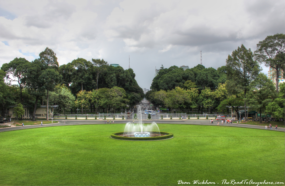 View of the fountain at the Reunification Palace in Saigon, Vietnam