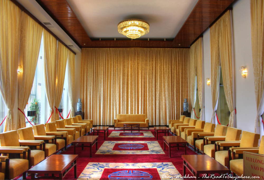 Reception room at the Reunification Palace in Saigon, Vietnam