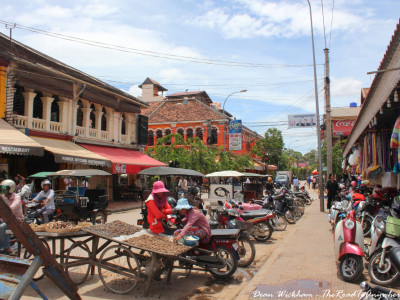 Busy street at the market in Siem Reap, Cambodia
